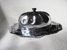 SUPERB VINTAGE CHROME PIERCED RIM OVAL DISH & FROST GLASS LINER & DOME LID